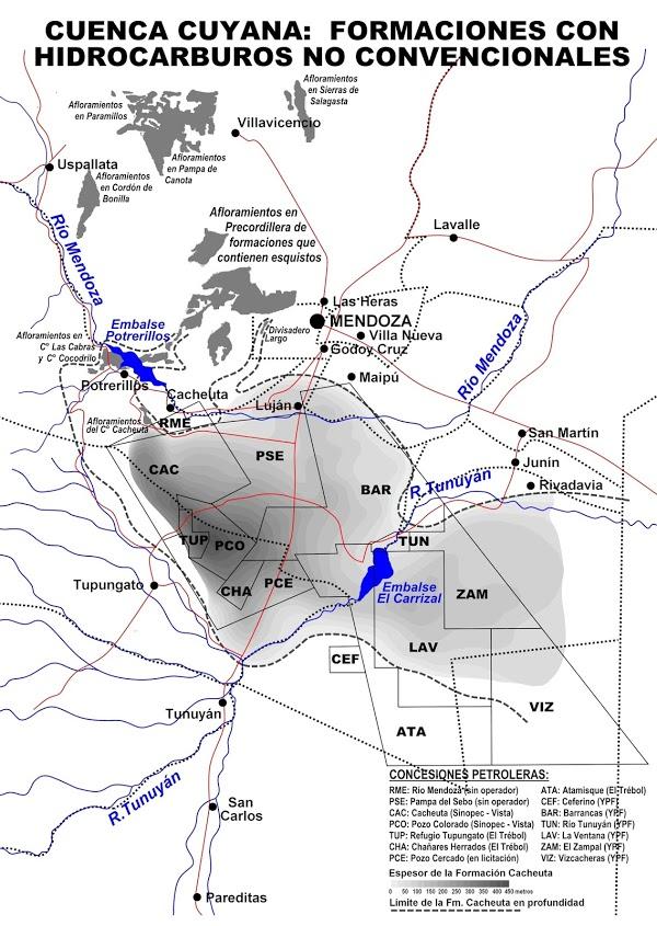 Argentina Mapa De Hidrocarburos No Convencionales Y Empresas